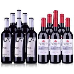 澳洲整箱红酒澳大利亚奔富洛神山庄设拉子赤霞珠红葡萄酒750ml*6+西班牙红酒拉伊尔干红葡萄酒750ml*6