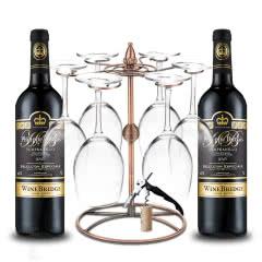 西班牙原瓶进口红酒 DO级 菲利宝莱红酒珍藏干红葡萄酒750ml*2送杯架8件套