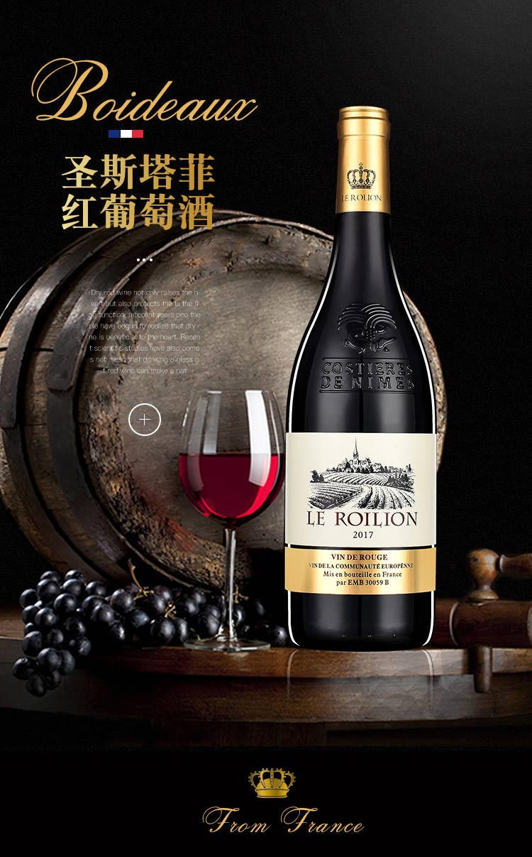 法国(原瓶)进口红酒14度圣斯塔菲老藤珍酿干红葡萄酒大肚浮雕重型瓶750ml