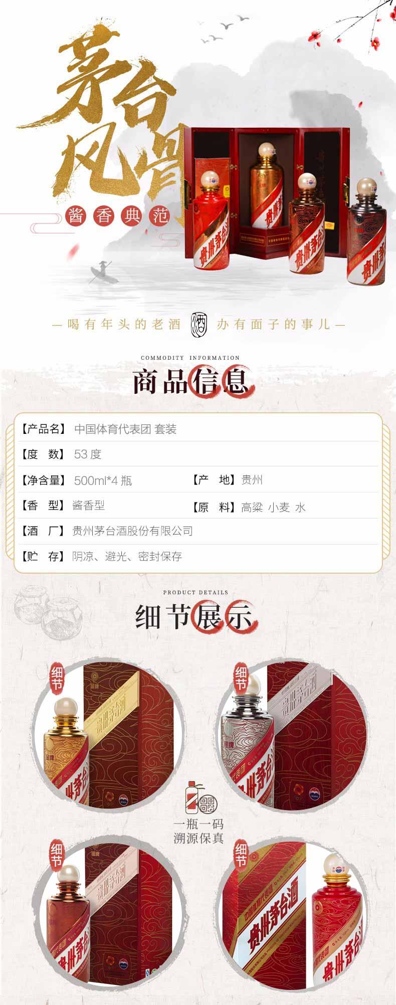 53°贵州茅台酒中国体育代表团 套装 500ml *4(2012年)