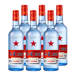 53°红星二锅头蓝瓶绵柔8高度白酒750ml(6瓶装)