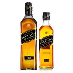 尊尼获加黑牌黑方苏格兰威士忌700ml&375ml双支