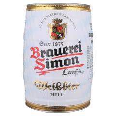 茜蒙德国原装进口小麦白啤酒桶装5L