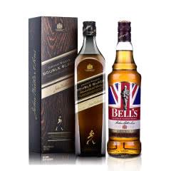 40°英国尊尼获加黑方(醇黑)调配苏格兰威士忌 700ml+40°英国金铃喜乐致醇调配苏格兰威士忌700ml