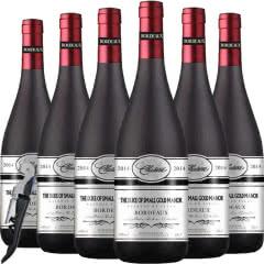 法国(原瓶)进口红酒波尔多AOC法定产区公爵赤霞珠美乐干红葡萄酒750ml*6