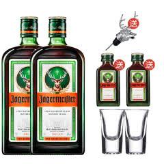 野格(Jagermeister)洋酒 德国 野格利口酒700ml*2 送鹿头 小酒版子弹杯