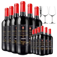 买1箱得2箱 西班牙原瓶进口红酒整箱 沐诺干红葡萄酒750ml*12