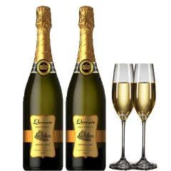 贵妮皇冠白葡萄酒起泡酒甜型女士白红酒冰酒微醺酒婚礼酒 送香槟酒杯2个 750ml*2