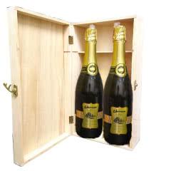 贵妮皇冠白葡萄酒起泡酒甜型女士白红酒冰酒微醺酒婚礼酒 750ml*2 送木盒1只