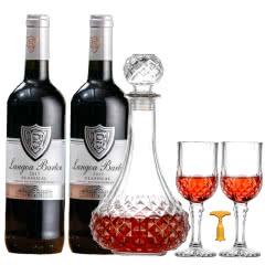 朗格巴顿银牌法国进口红酒14度干红葡萄酒750ml*2支装+1个醒酒器2个红酒杯1个开瓶器