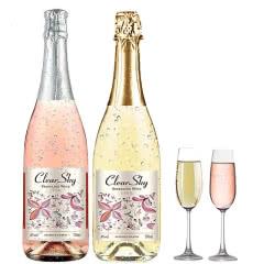 白起泡气泡酒半甜型果酒葡萄酒送礼女生网红酒750ml*2瓶 送2个香槟杯