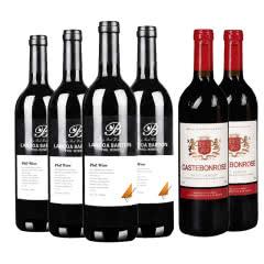 法国原酒进口朗格巴顿干红葡萄酒750ml*4+歌思美露维克多半甜型红葡萄酒750ml*2