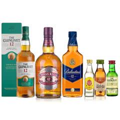 12年威士忌联袂套装(芝华士700ml+百龄坛500ml+格兰威特700ml)+小酒*3