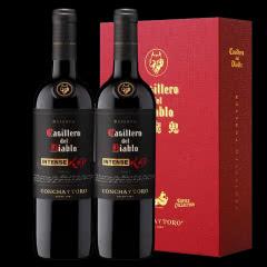 智利进口红魔鬼黑金浓郁红葡萄酒750ML双支礼盒装